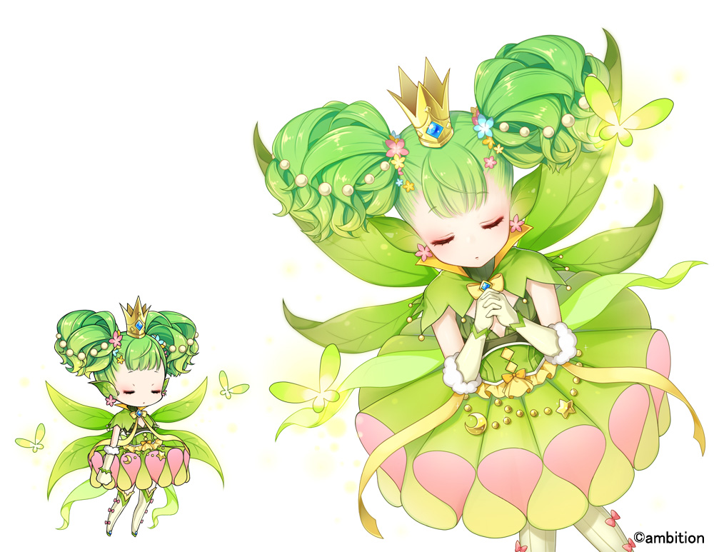 1girl aki_no_jikan arm_at_side closed_eyes crown earrings facing_viewer fairy flower gloves green_hair green_skirt hair_flower hair_ornament hands_together jewelry leaf maru-kichi multiple_views short_twintails skirt tutu twintails watermark white_gloves white_legwear