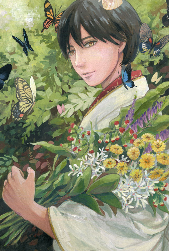1boy black_hair brown_eyes butterfly day flower graphite_(medium) insect japanese_clothes kimono looking_at_viewer male_focus original outdoors solo spring_(season) standing traditional_media watercolor_(medium) ying_zhang