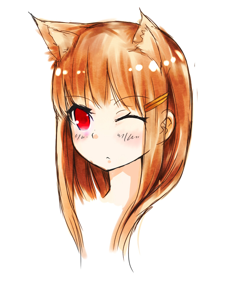 1girl animal_ears brown_hair eyebrows_visible_through_hair hair_ornament hairclip holo mou_(piooooon) one_eye_closed red_eyes solo spice_and_wolf wolf_ears