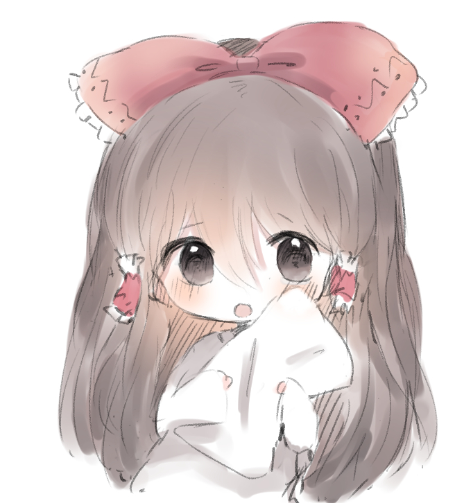 1girl :o bangs blush bow brown_eyes brown_hair cottontailtokki eyebrows_visible_through_hair hair_between_eyes hair_bow hair_tubes hakurei_reimu holding holding_pillow long_hair long_sleeves looking_at_viewer open_mouth pillow red_bow shirt simple_background sleeves_past_wrists solo touhou upper_body very_long_hair white_background white_shirt