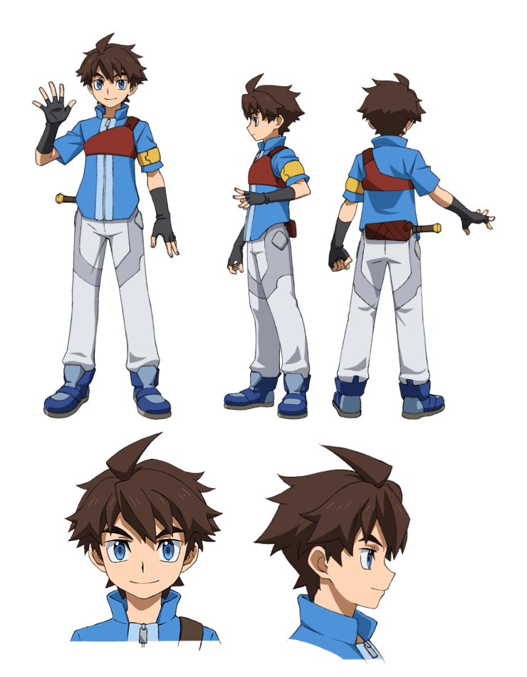 1boy blue_eyes brown_hair character_sheet fingerless_gloves gloves gundam gundam_build_divers male_focus mikami_riku official_art smile solo transparent_background