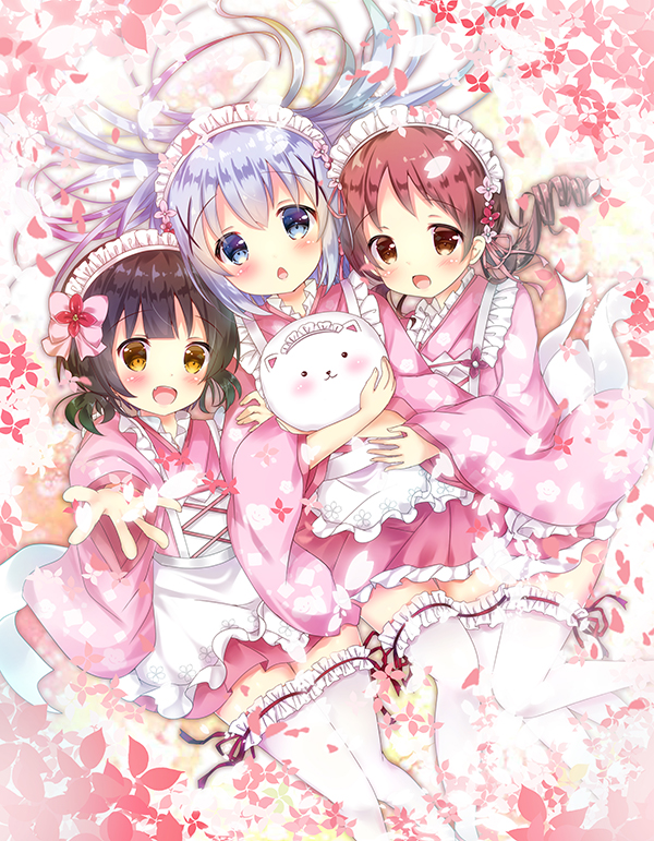 3girls :d angora_rabbit animal animal_hug apron blue_eyes blush bow brown_eyes brown_hair chestnut_mouth commentary_request fingernails floral_print flower frilled_apron frilled_legwear frills gochuumon_wa_usagi_desu_ka? hair_bow hair_ornament japanese_clothes jouga_maya kafuu_chino kimono long_hair long_sleeves looking_at_viewer maid_headdress multiple_girls natsu_megumi open_mouth outstretched_arm parted_lips pink_bow pink_flower pink_kimono pink_skirt pleated_skirt print_kimono rabbit redhead rikatan ringlets short_kimono silver_hair skirt smile thigh-highs tippy_(gochiusa) very_long_hair virtual_youtuber wa_maid waist_apron white_apron white_legwear wide_sleeves x_hair_ornament