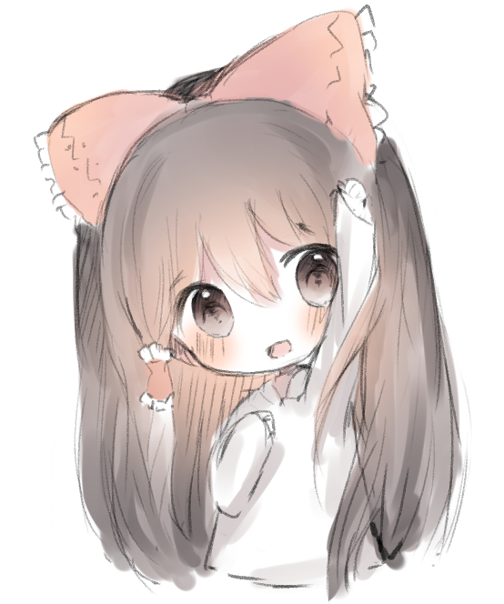 1girl :d arm_up bangs blush bow brown_eyes brown_hair cottontailtokki eyebrows_visible_through_hair hair_between_eyes hair_bow hair_tubes hakurei_reimu head_tilt long_hair long_sleeves looking_at_viewer open_mouth outstretched_arm red_bow shirt simple_background sleeves_past_wrists smile solo touhou upper_body very_long_hair white_background white_shirt