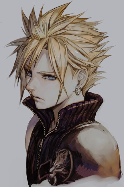 1boy bangs bare_shoulders blonde_hair earrings final_fantasy grey_background hankuri jewelry noctis_lucis_caelum short_hair solo spiky_hair