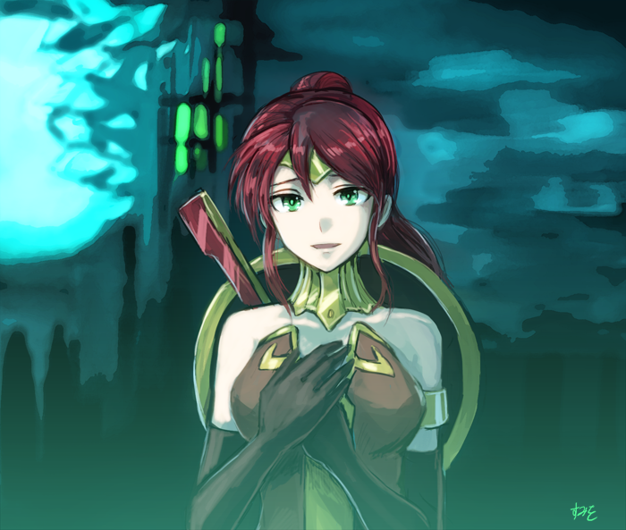 1girl bare_shoulders elbow_gloves full_moon gloves green_eyes hair_between_eyes hands_on_own_chest long_hair moon pyrrha_nikos redhead rwby solo sumiwow upper_body