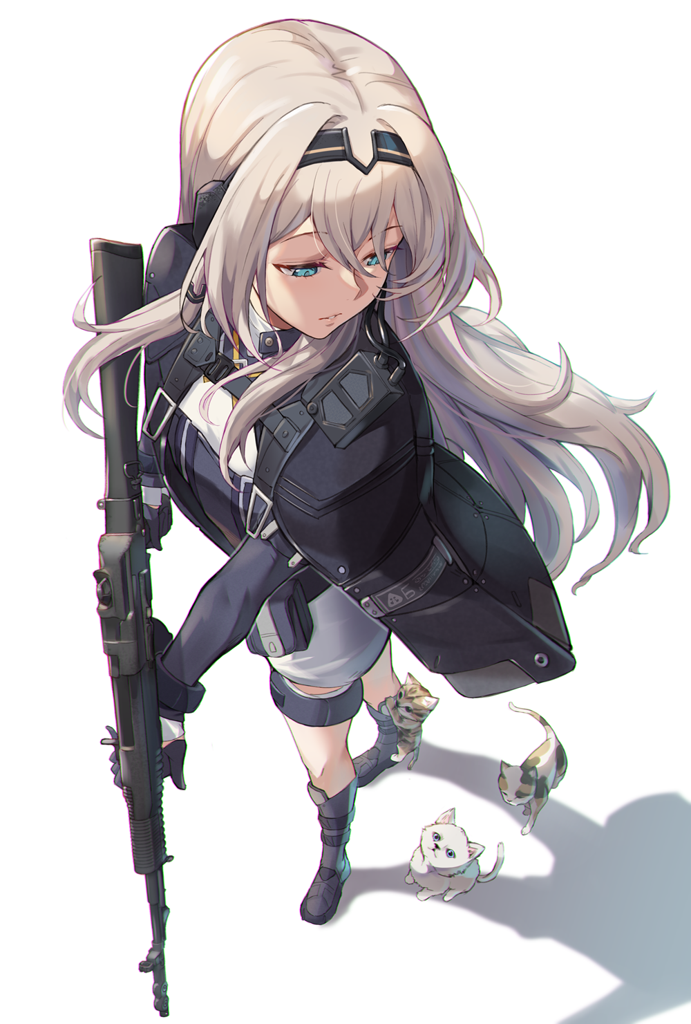 1girl an-94 an-94_(girls_frontline) animal assault_rifle black_gloves blue_eyes breasts cat girls_frontline gloves gun hairband highres holding holding_gun holding_weapon jacket long_hair niac parted_lips platinum_blonde_hair rifle solo weapon