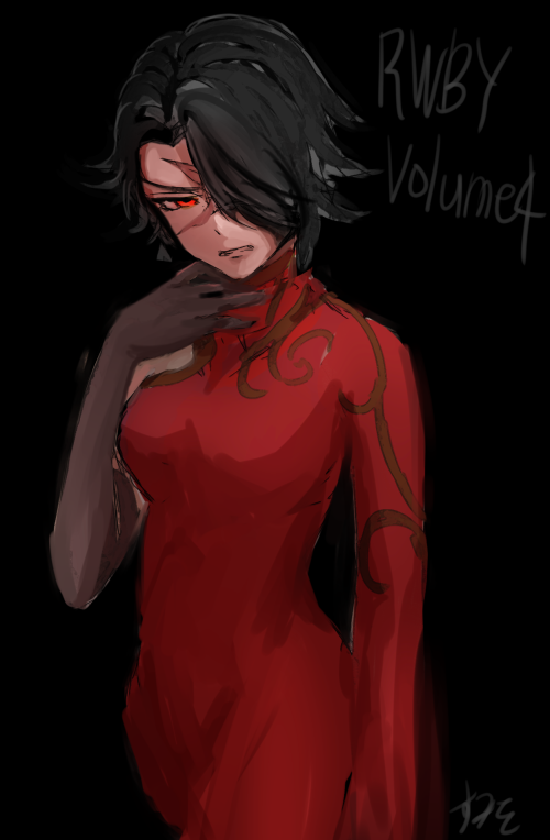 1girl black_background black_gloves breasts cinder_fall copyright_name cowboy_shot dress elbow_gloves facial_scar gloves hair_over_one_eye hand_on_own_chin medium_breasts red_dress red_eyes rwby scar short_hair solo sumiwow