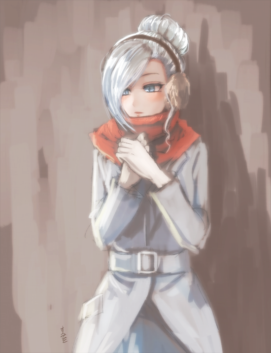 1girl animal_ears blue_eyes blush cowboy_shot hair_over_one_eye hands_clasped own_hands_together painterly rabbit_ears red_skirt rwby scarf silver_hair skirt solo sumiwow trench_coat winter_schnee