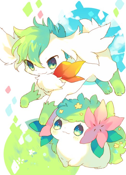 alternate_form blush closed_mouth commentary_request gen_4_pokemon grass green_eyes nekotorina no_humans pokemon pokemon_(creature) red_scarf scarf shaymin smile