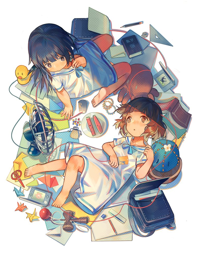 2girls arm_support backpack bag ball bangs barefoot black_eyes black_hair blue_ribbon blunt_bangs book brown_eyes brown_hair child dress electric_fan food from_above fruit handheld_game_console hibike!_euphonium holding kendama kousaka_reina lying multiple_girls neck_ribbon nintendo_ds norizc on_back open_book origami oumae_kumiko paper_crane pencil plate reclining ribbon rubber_duck sailor_collar sailor_dress shell short_hair stuffed_animal stuffed_toy watermelon white_sailor_collar younger