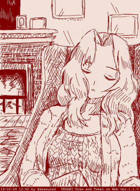 1girl abazu-red alternate_costume closed_eyes fire fireplace girls_und_panzer hair_intakes jacket kay_(girls_und_panzer) long_hair monochrome picture_frame sleeping solo sweater tegaki tegaki_draw_and_tweet