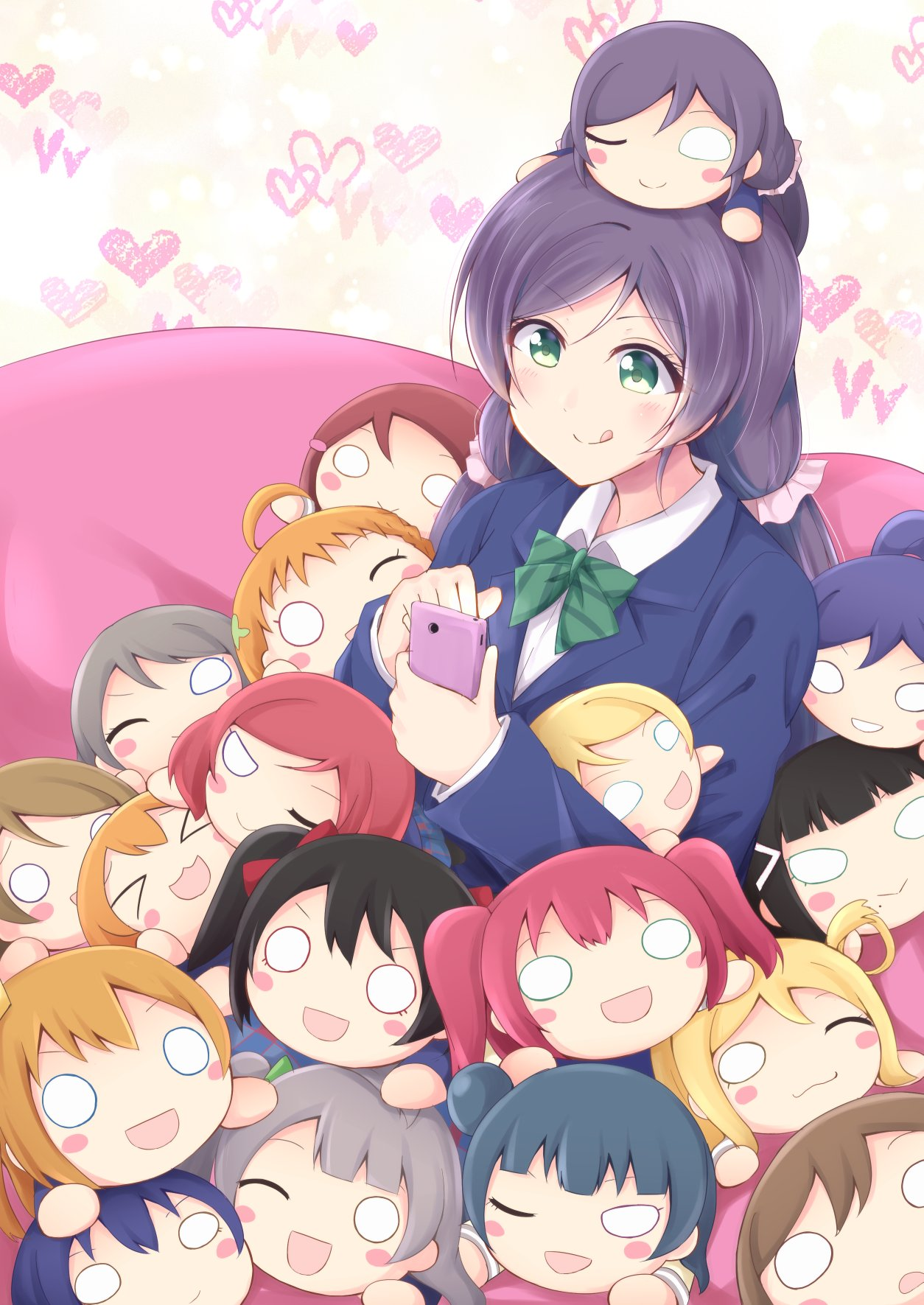>_< 1girl :> :3 :d :q ;) ;3 ahoge ayase_eli bangs bean_bag_chair black_hair blazer blonde_hair blue_hair blunt_bangs blush_stickers bow brown_hair cellphone character_doll chiro_(bocchiropafe) commentary_request doll_on_head green_bow green_eyes green_neckwear grey_hair hair_ornament hairclip heart highres holding holding_phone hoshizora_rin jacket koizumi_hanayo kousaka_honoka kunikida_hanamaru kurosawa_dia kurosawa_ruby long_hair long_sleeves love_live! love_live!_school_idol_project love_live!_sunshine!! low_twintails matsuura_kanan minami_kotori mole mole_under_mouth nesoberi nishikino_maki o_o ohara_mari one_eye_closed open_mouth orange_hair otonokizaka_school_uniform phone pink_scrunchie playing_games ponytail puchiguru_love_live! purple_hair red_bow redhead sakurauchi_riko scrunchie side_bun smartphone smile sonoda_umi striped_neckwear takami_chika tongue tongue_out toujou_nozomi tsushima_yoshiko twintails v-shaped_eyebrows watanabe_you xd yazawa_nico