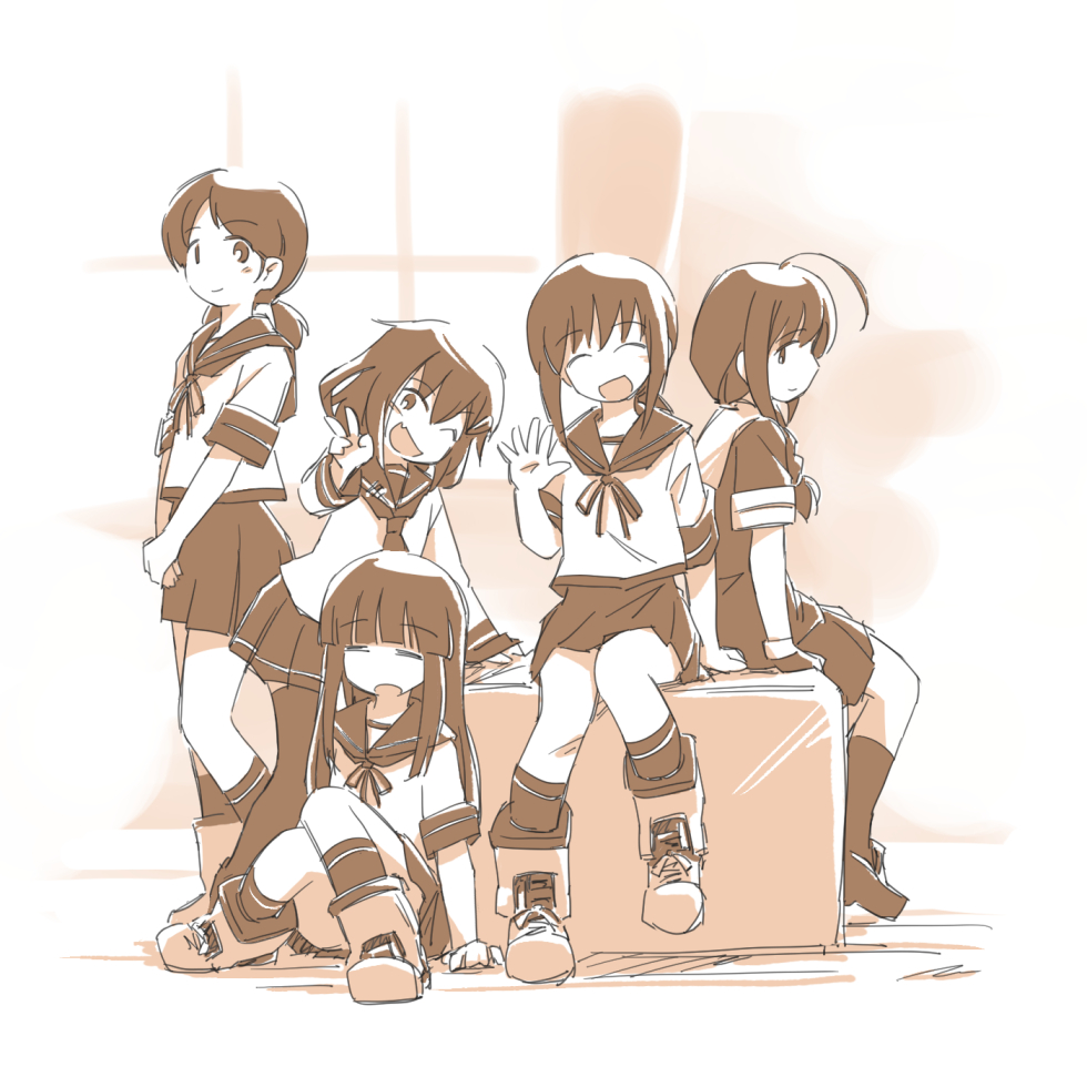 5girls ahoge bangs blunt_bangs box braid commentary_request fang fubuki_(kantai_collection) hair_over_shoulder hatsuyuki_(kantai_collection) ikazuchi_(kantai_collection) kantai_collection long_hair looking_at_viewer low_twintails monochrome multiple_girls open_mouth pleated_skirt sepia shigure_(kantai_collection) shirayuki_(kantai_collection) short_hair sitting skirt smile standing tewarusa thigh-highs twintails v waving window