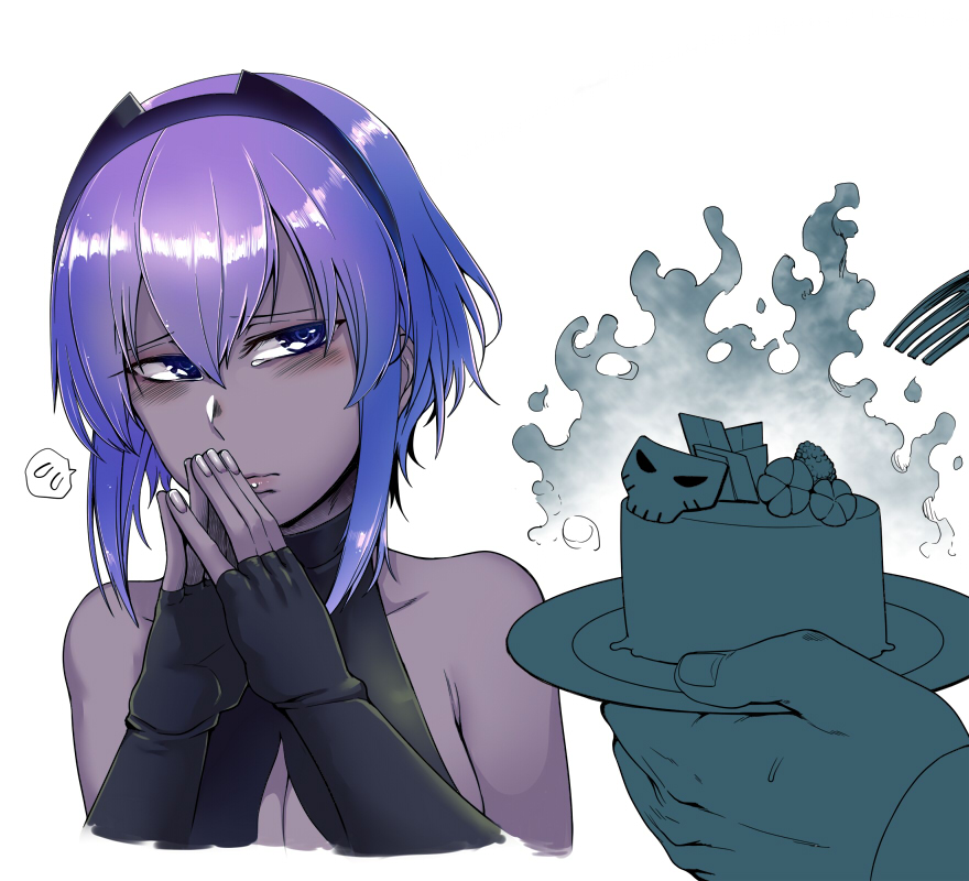 bare_shoulders black_gloves black_hairband blush breasts center_opening cleavage dark_skin fate/grand_order fate_(series) fingerless_gloves fingers_together fork gloves grey_skin hairband hassan_of_serenity_(fate) lips own_hands_together purple_hair short_hair_with_long_locks steepled_fingers toritora violet_eyes
