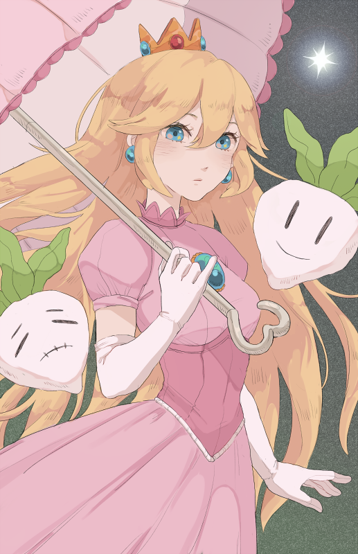 1girl =) arm_at_side blonde_hair blue_eyes brooch closed_eyes closed_mouth crown dress earrings elbow_gloves gloves hair_between_eyes hand_up holding holding_umbrella jewelry long_hair mario_(series) pink_dress pinky_out princess_peach puffy_short_sleeves puffy_sleeves risorins short_sleeves smile solo_focus star_(sky) super_mario_bros. umbrella upper_body very_long_hair |_|