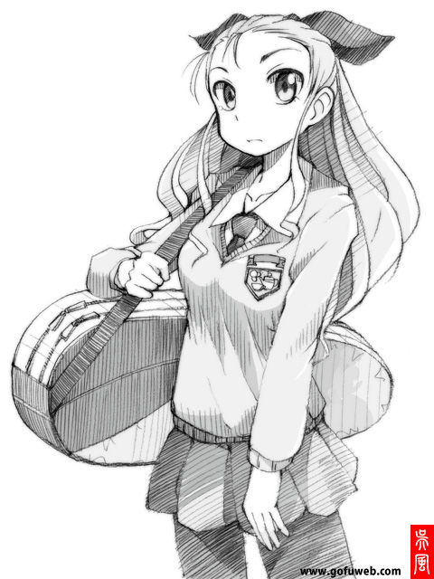 1girl assam carrying commentary_request coupy_pencil_(medium) cowboy_shot dress_shirt emblem girls_und_panzer gofu greyscale guitar_case hair_pulled_back hair_ribbon instrument_case light_frown long_hair long_sleeves looking_at_viewer miniskirt monochrome necktie pantyhose pleated_skirt ribbon school_uniform shirt sketch skirt solo spot_color st._gloriana's_(emblem) st._gloriana's_school_uniform standing sweater traditional_media v-neck watermark web_address wing_collar