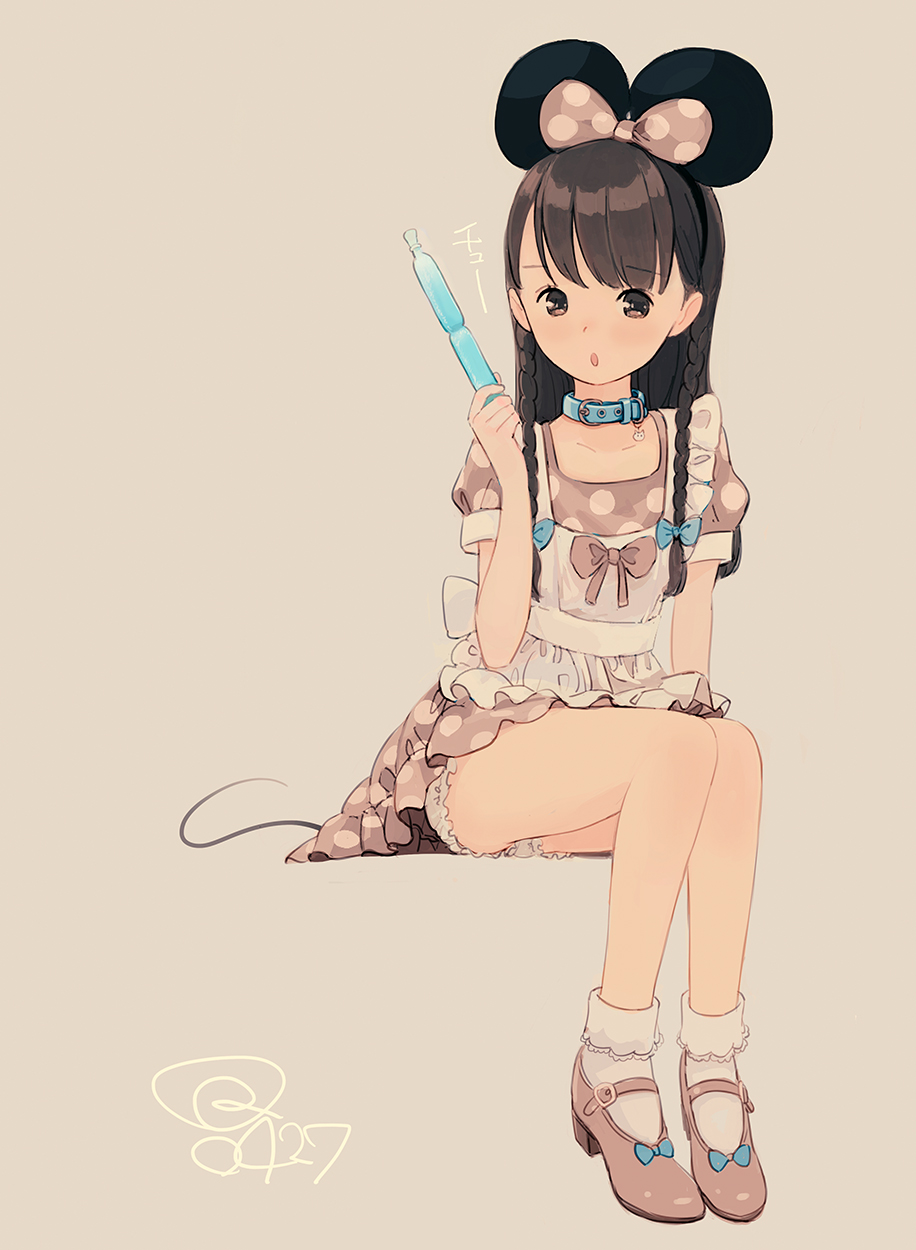 1girl animal_ears apron bangs bloomers blue_bow bobby_socks bow braid brown_background brown_bow brown_dress brown_eyes brown_footwear brown_hair dress eyebrows_visible_through_hair hair_bow high_heels highres holding kokudou_juunigou long_hair looking_at_viewer maid_apron mickey_mouse_ears mouse_ears mouse_girl mouse_tail original parted_lips polka_dot polka_dot_bow polka_dot_dress puffy_short_sleeves puffy_sleeves shoes short_sleeves signature simple_background sitting socks solo tail tupet twin_braids underwear very_long_hair white_apron white_bloomers white_legwear