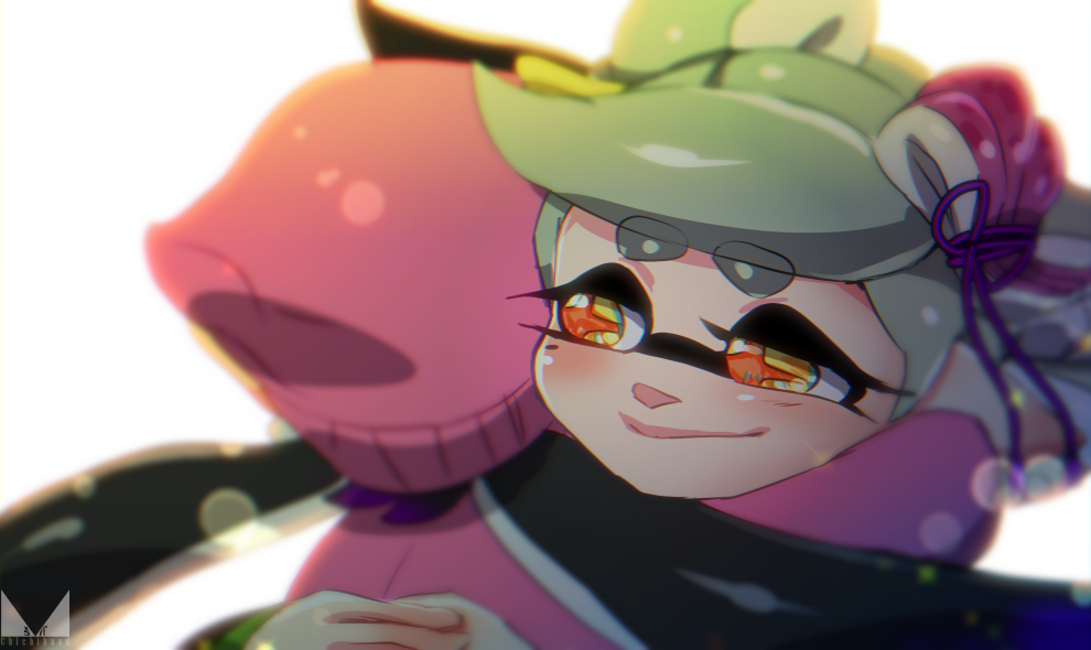 +_+ 2girls aori_(splatoon) beanie black_hair blush chichi_band closed_mouth domino_mask grey_hair hair_ribbon half-closed_eyes happy hat hotaru_(splatoon) hug jacket long_hair mask multiple_girls pink_hat pink_jacket pointy_ears purple_ribbon ribbon simple_background smile sparkle splatoon splatoon_2 thick_eyebrows twintails upper_body white_background yellow_eyes