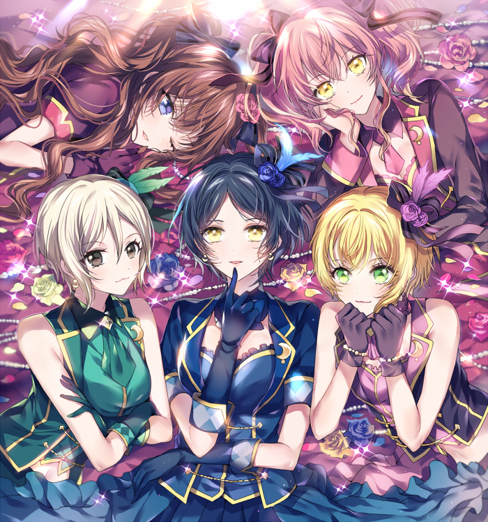 5girls :3 ;d ascot bangs black_hair black_jacket black_ribbon black_vest blonde_hair blue_bow blue_eyes blue_flower blue_gloves blue_neckwear blue_rose blue_shirt blue_vest blush bow bowtie bracelet breasts brown_eyes cleavage crescent crescent_moon_pin crossed_arms detached_collar earrings elbow_gloves eyebrows_visible_through_hair feathers finger_to_mouth flower frilled_shirt frills gem glint gloves green_eyes green_gloves green_shirt green_vest hair_between_eyes hair_feathers hair_flower hair_ornament hair_ribbon hand_on_own_cheek hands_up hayami_kanade ichinose_shiki idolmaster idolmaster_cinderella_girls jacket jewelry jougasaki_mika lipps_(idolmaster) long_hair long_sleeves lying mini_necktie miyamoto_frederica multiple_girls navel necktie nennen on_back on_side on_stomach one_eye_closed open_clothes open_jacket open_mouth open_vest own_hands_together parted_bangs pearl_bracelet petals pink_flower pink_neckwear pink_rose pink_shirt platinum_blonde puffy_long_sleeves puffy_sleeves purple_flower purple_gloves ribbon rose rose_hair_ornament rose_petals shiomi_shuuko shirt short_hair small_breasts smile twintails upper_body vest wavy_hair yellow_eyes yellow_flower yellow_rose