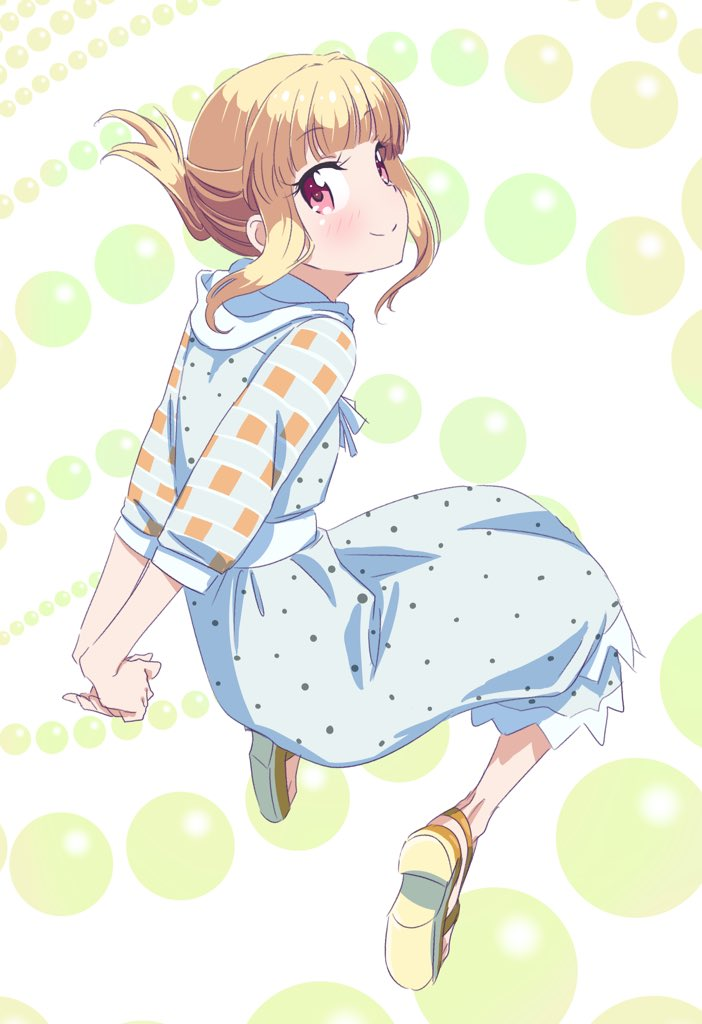 1girl arms_behind_back blonde_hair blue_dress dress eyebrows_visible_through_hair floating_hair full_body iijima_yun long_dress looking_at_viewer looking_back new_game! pink_x polka_dot polka_dot_dress ponytail red_eyes short_hair_with_long_locks sidelocks smile solo