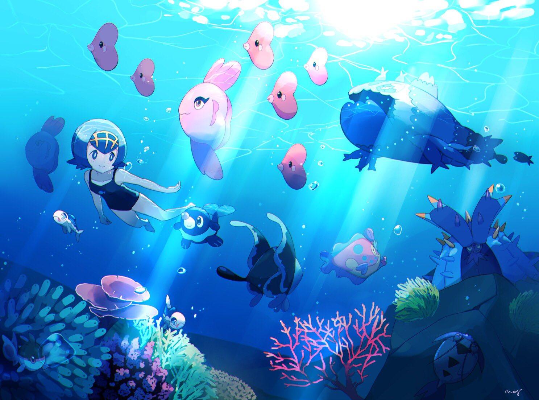 1girl alomomola blue_eyes blue_hair bruxish bubble finneon gen_3_pokemon gen_4_pokemon gen_5_pokemon gen_7_pokemon hairband lumineon luvdisc mei_(maysroom) one-piece_swimsuit pokemon pokemon_(creature) pokemon_(game) pokemon_sm popplio rock short_hair smile suiren_(pokemon) swimming swimsuit toxapex trial_captain underwater wimpod wishiwashi