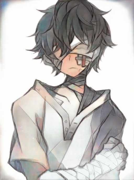 anime bandage beaten black_hair blind blindfold blood boy closed_eyes eyepatch face_mask hospital injury mask original patient promisekun short_hair shota shounen surgery surgical_mask weak