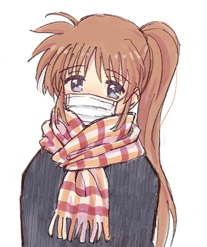 1girl blush brown_hair eyebrows_visible_through_hair face_mask kannari long_hair lowres lyrical_nanoha mahou_shoujo_lyrical_nanoha_strikers mask nose_blush scarf side_ponytail solo sweater takamachi_nanoha violet_eyes white_background white_legwear