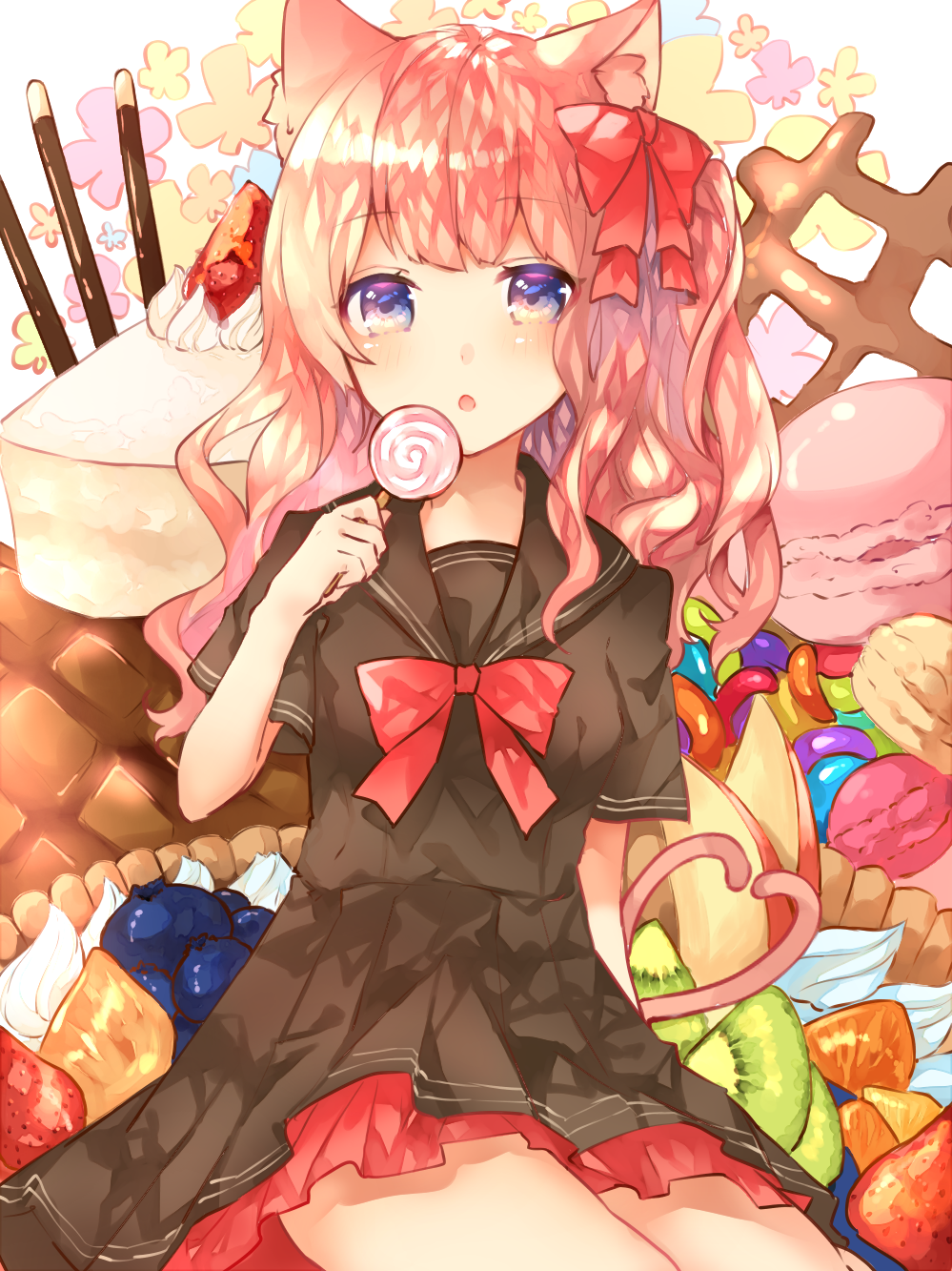 1girl :o animal_ears apple_slice arm_behind_back arm_up black_serafuku blue_eyes blueberry bow bread candy cat_ears cat_tail cheesecake floral_background food fruit hair_ribbon heart heart_tail highres jelly_bean kiwi_slice lollipop long_hair looking_at_viewer macaron melon_bread multiple_tails orange orange_slice original oversized_object petticoat pie pink_hair pocky red_bow red_neckwear ribbon school_uniform serafuku short_sleeves side_ponytail sitting solo strawberry sweetroad swirl_lollipop tail white_background