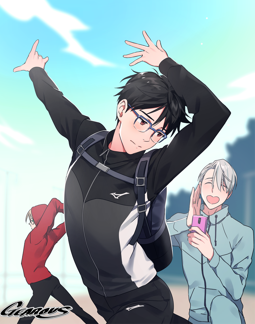 3boys ^_^ artist_name backpack bag black_hair blonde_hair blue-framed_eyewear brown_eyes cellphone closed_eyes gearous glasses green_eyes heart-shaped_mouth hood hoodie jacket jewelry katsuki_yuuri male_focus multiple_boys open_mouth phone pose ring silver_hair smartphone smile track_jacket viktor_nikiforov yuri!!!_on_ice yuri_plisetsky