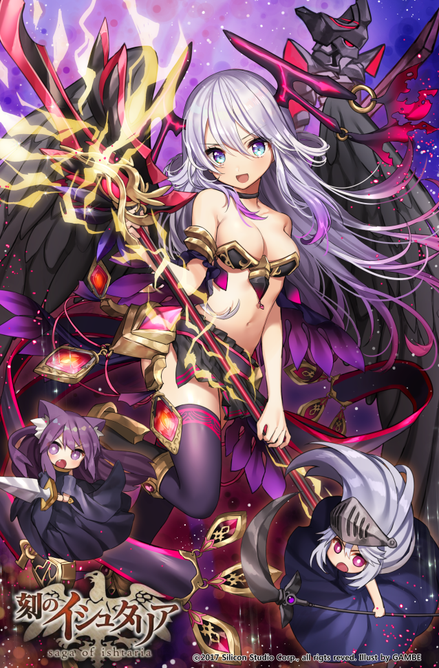 3girls :d :o age_of_ishtaria animal_ears black_choker black_skirt blue_eyes blush breasts bright_pupils cat_ears choker copyright_name fang gambe grey_hair hair_between_eyes holding horns logo long_hair looking_at_viewer medium_breasts minigirl multiple_girls navel official_art open_mouth pink_eyes polearm purple_hair purple_legwear scythe skirt smile spear thigh-highs violet_eyes visor_(armor) watermark weapon wings