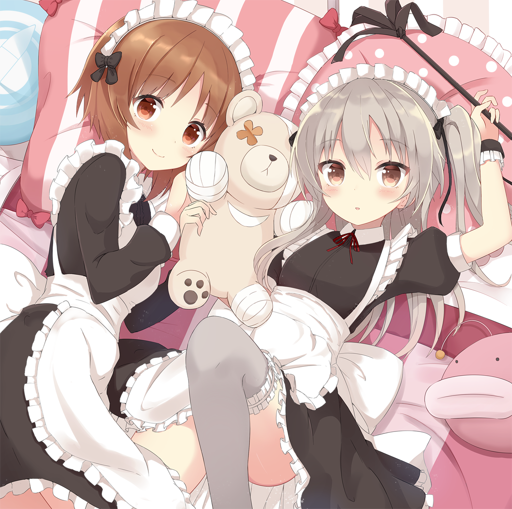 2girls alternate_costume anglerfish bandage bed blush boko_(girls_und_panzer) brown_hair duster eyebrows_visible_through_hair frilled_pillow frills girls_und_panzer hair_ribbon knee_up light_brown_hair long_hair lying maid multiple_girls nishizumi_miho on_back on_side parted_lips pillow ribbon shimada_arisu short_hair shuuichi_(gothics) side_ponytail smile stuffed_animal stuffed_toy teddy_bear thigh-highs underbust wing_collar