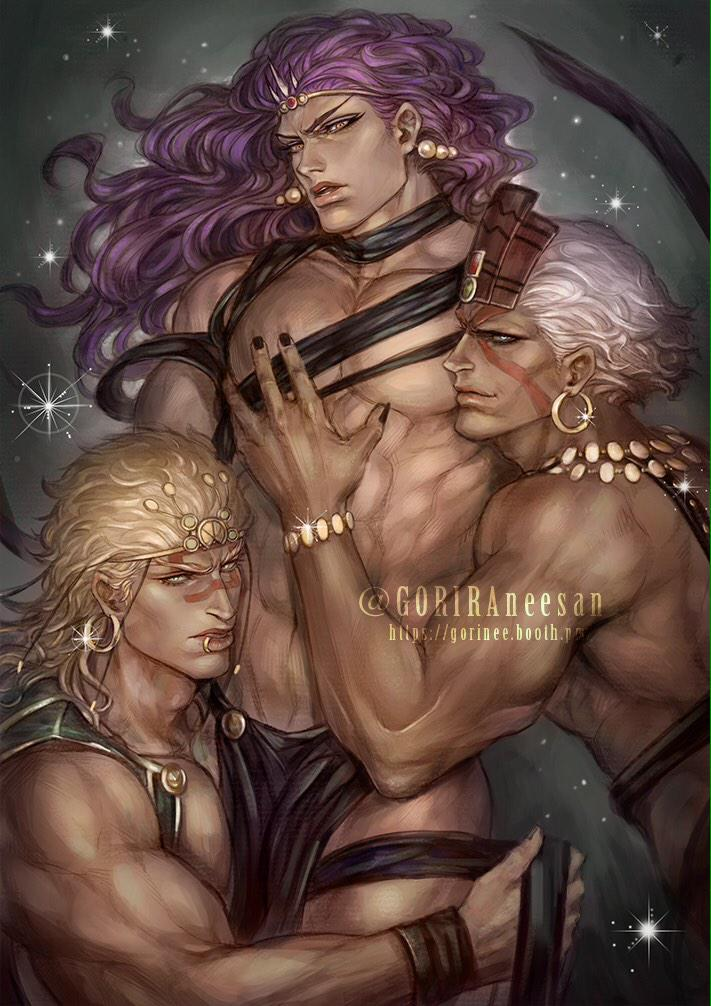3boys abs artist_name battle_tendency blonde_hair circlet ear_piercing earrings esidisi fabulous facial_tattoo goriraneesan hoop_earrings jewelry jojo_no_kimyou_na_bouken kars_(jojo) lip_piercing lips loincloth long_hair looking_at_viewer male_focus multiple_boys muscle nail_polish pearl_earrings piercing purple_hair sparkle tattoo twitter_username wamuu watermark web_address white_hair