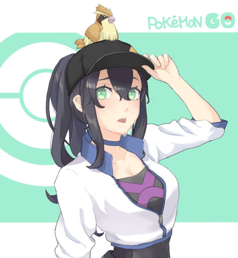1girl adjusting_clothes adjusting_hat animal animal_on_head bangs baseball_cap bird bird_on_head black_hair black_hat blue_choker blush breasts choker cleavage collarbone copyright_name cropped_jacket eyebrows eyelashes female_protagonist_(pokemon_go) gen_1_pokemon green_eyes hair_between_eyes hat high_ponytail jacket large_breasts long_hair long_sleeves on_head open_clothes open_jacket open_mouth palms pidgey pokemon pokemon_(creature) pokemon_(game) pokemon_go ponytail popped_collar raised_eyebrow sidelocks solo sweat teeth ueno_(sakumogu-029) unzipped upper_body white_jacket zipper_pull_tab