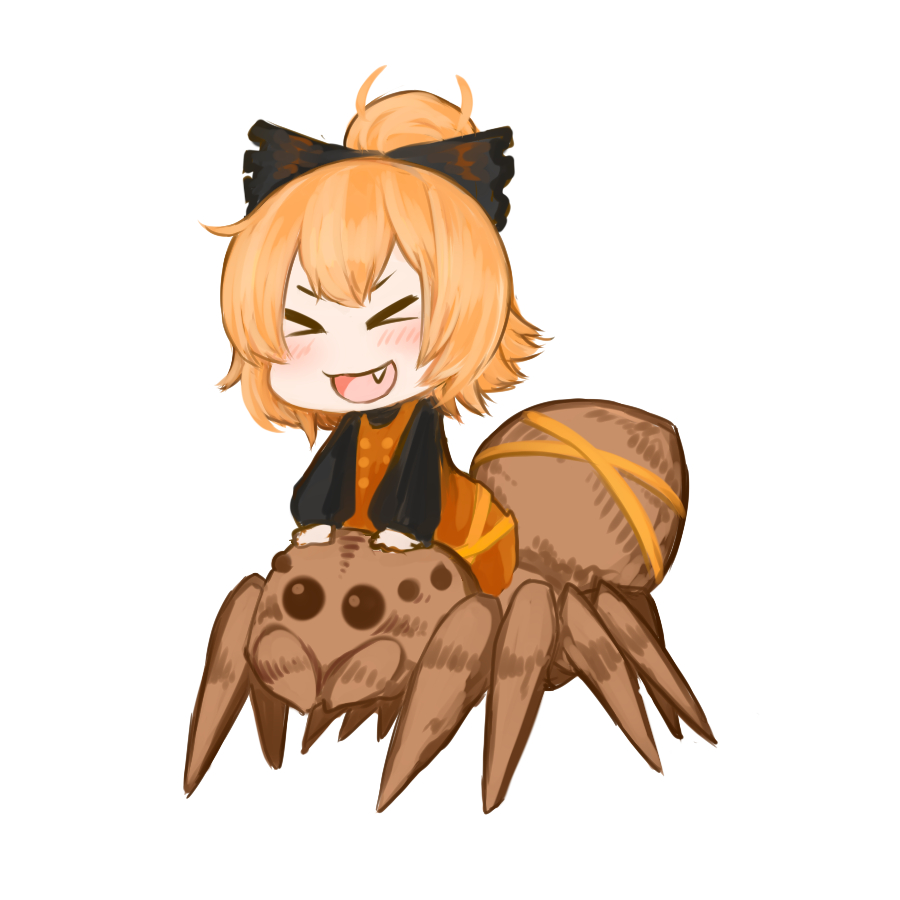 >_< 1girl :d animal black_bow blonde_hair blush bow brown_dress bug chibi closed_eyes commentary_request dress fang full_body hair_bow hands_on_another's_head jakomurashi kurodani_yamame long_sleeves open_mouth riding short_hair simple_background smile spider touhou white_background xd