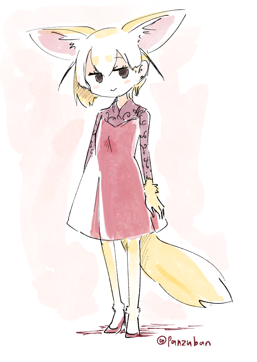 1girl :> alternate_costume animal_ears artist_name black_eyes blonde_hair blush commentary_request dress extra_ears fennec_(kemono_friends) fox_ears fox_tail full_body hair_between_eyes high_heels kemono_friends looking_at_viewer panzuban red_dress short_hair simple_background smile solo tail twitter_username