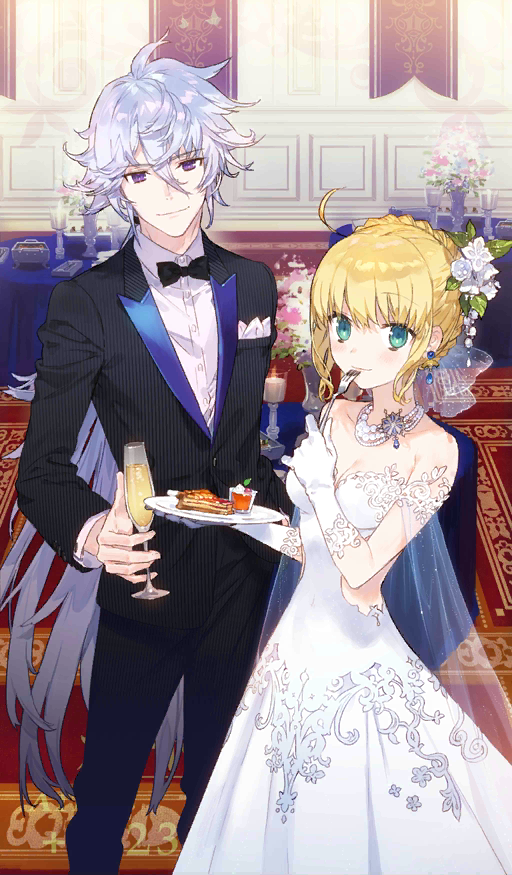 1boy 1girl ahoge alcohol artoria_pendragon_(all) avalon_celebrate banner blonde_hair blush bow bowtie braided_bun breasts cape carpet champagne champagne_flute cleavage cup dress drinking_glass eating fate/grand_order fate_(series) flower food fork gloves green_eyes hair_flower hair_ornament hair_ribbon jewelry lavender_hair long_hair looking_at_viewer medium_breasts merlin_(fate/stay_night) necklace noco official_art pie plate ribbon saber see-through strapless strapless_dress table tuxedo violet_eyes wedding_dress white_dress white_gloves
