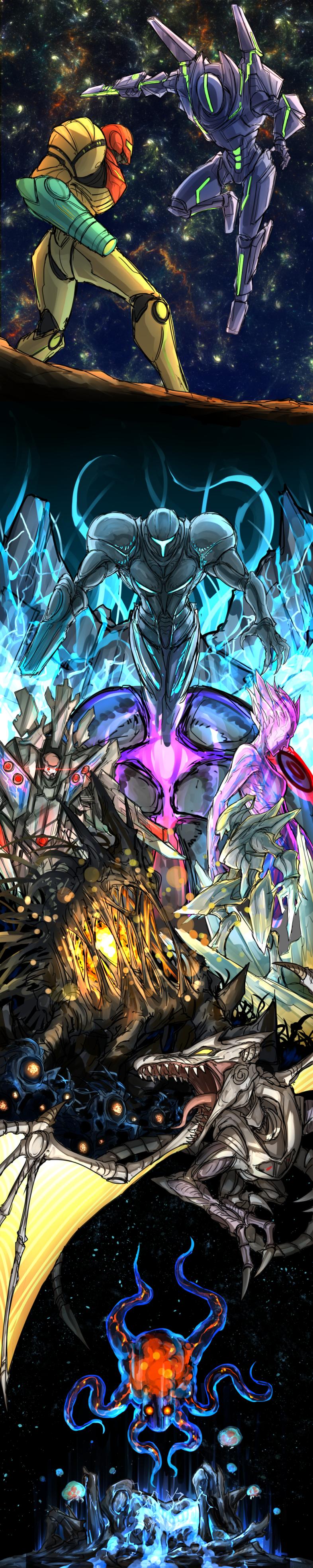 absurdres alien arm_cannon dark_samus energy fighting floating gandrayada ghor highres ing_(metroid) kan_(aaaaari35) long_image metroid metroid_(creature) metroid_prime metroid_prime_(creature) metroid_prime_2:_echoes metroid_prime_3:_corruption power_armor pterosaur ridley rundas samus_aran space sylux_(metroid) tall_image tentacle weapon wings
