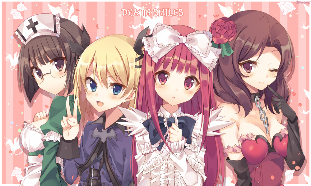4girls bat_ornament black_bow black_ribbon blonde_hair blue_eyes bow breasts brown_eyes brown_hair casper_(deathsmiles) chains choker cleavage deathsmiles dress follett_(deathsmiles) green_dress hat long_hair looking_at_viewer multiple_girls nurse nurse_cap one_eye_closed pegasus purple_dress red_dress red_eyes rento_(rukeai) ribbon rosa_(deathsmiles) rose_in_hair short_hair striped striped_background title unicorn v vertical-striped_background vertical_stripes white_dress windia_(deathsmiles)