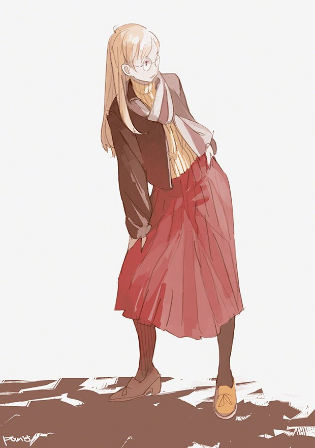 1girl artist_name black_legwear blonde_hair full_body glasses grey_scarf hand_on_hip hand_on_own_leg jacket long_hair long_skirt looking_to_the_side original pomodorosa red_skirt ribbed_sweater shoes simple_background skirt solo standing sweater