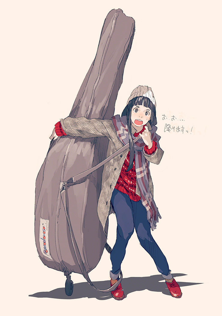 1girl :o bangs blue_pants blunt_bangs hat instrument_case jacket long_hair looking_at_viewer original pants pink_background plaid plaid_scarf pomodorosa red_footwear scarf solo standing sweater translation_request white_hat