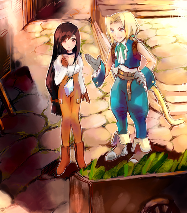 198660aki 1boy 1girl black_hair blonde_hair bodysuit breasts brown_eyes brown_hair commentary_request final_fantasy final_fantasy_ix garnet_til_alexandros_xvii gloves long_hair low-tied_long_hair orange_bodysuit short_hair smile tail zidane_tribal