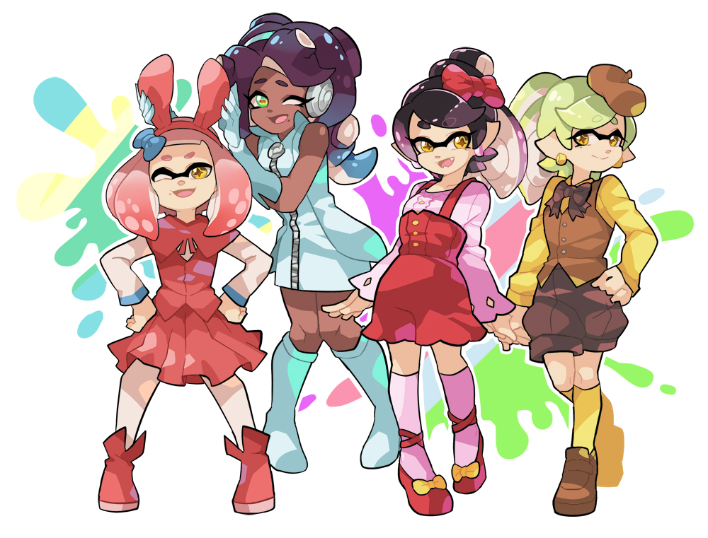 +_+ 4girls adjusting_another's_clothes alternate_costume alternate_hairstyle animal_ears ankle_boots aori_(splatoon) bangs beret black_hair black_legwear black_skin blunt_bangs boots bow bow_footwear bowtie brown_eyes brown_hair brown_hat brown_neckwear brown_shorts brown_vest cephalopod_eyes commentary coveralls crown domino_mask dress earrings elbow_gloves english_commentary eyebrows_visible_through_hair fake_animal_ears gloves gradient_hair green_dress green_footwear green_gloves hair_bow hair_up hand_holding hands_on_hips hat headphones hime_(splatoon) hotaru_(splatoon) iida_(splatoon) jewelry knee_boots kneehighs loafers long_hair long_sleeves looking_at_viewer mask medium_skirt mole mole_under_mouth multicolored multicolored_background multicolored_hair multiple_girls octarian one_eye_closed open_mouth paint_splatter pantyhose pink_hair pink_legwear pink_pupils pink_shirt pleated_skirt puffy_shorts rabbit_ears red_bow red_footwear red_skirt red_vest shirt shoes short_coveralls short_dress short_hair shorts skirt sleeveless sleeveless_dress smile splatoon splatoon_2 standing tentacle_hair vest white_legwear white_shirt wong_ying_chee yellow_legwear yellow_shirt zipper