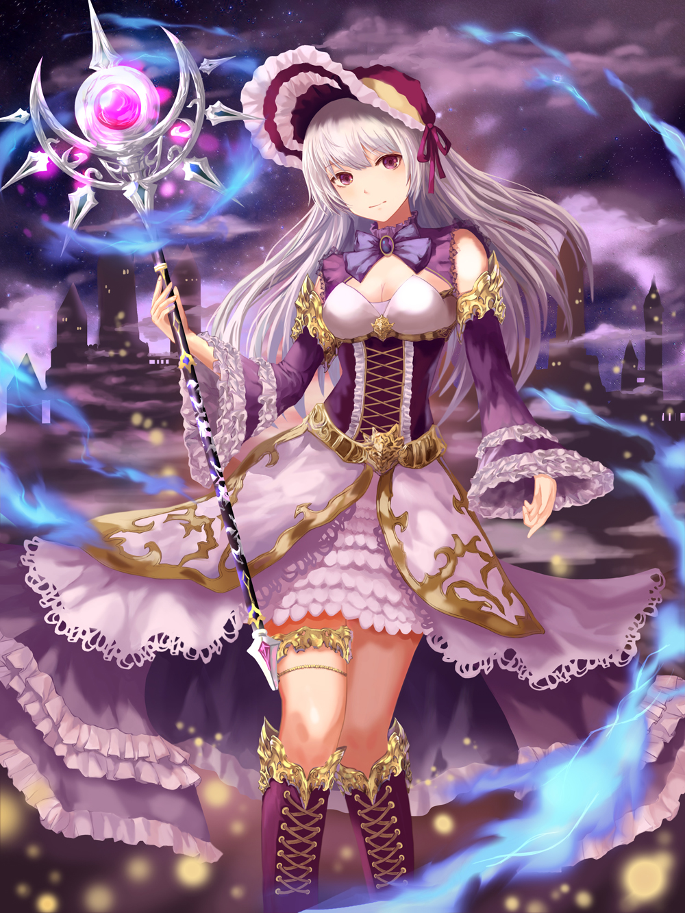 1girl bonnet boots breasts castle clouds dew_(7302235) dress frilled_sleeves frills highres holding holding_staff knee_boots long_hair looking_at_viewer medium_breasts original outdoors purple purple_dress solo staff standing thigh_strap white_hair