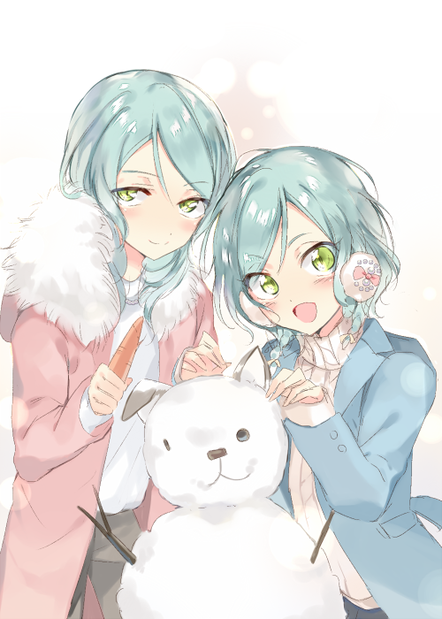 2girls :d aqua_hair bang_dream! blue_coat blush carrot earmuffs fur_collar green_eyes hikawa_hina hikawa_sayo holding long_hair long_sleeves looking_at_viewer multiple_girls open_mouth pants pink_coat ribbed_sweater short_hair siblings side_braids sisters smile snowman sohu sweater turtleneck turtleneck_sweater twins white_sweater winter winter_clothes