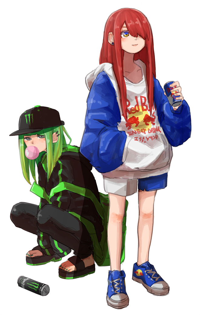 2girls black_hat black_jacket blue_footwear bubble_blowing can chewing_gum earrings energy_drink green_hair green_nails hair_over_one_eye hand_in_pocket hat holding_drink hood hoodie jacket jewelry logo long_hair monster_energy multiple_girls nail_polish personification red_bull redhead shoes shorts sneakers squatting standing stud_earrings tabao