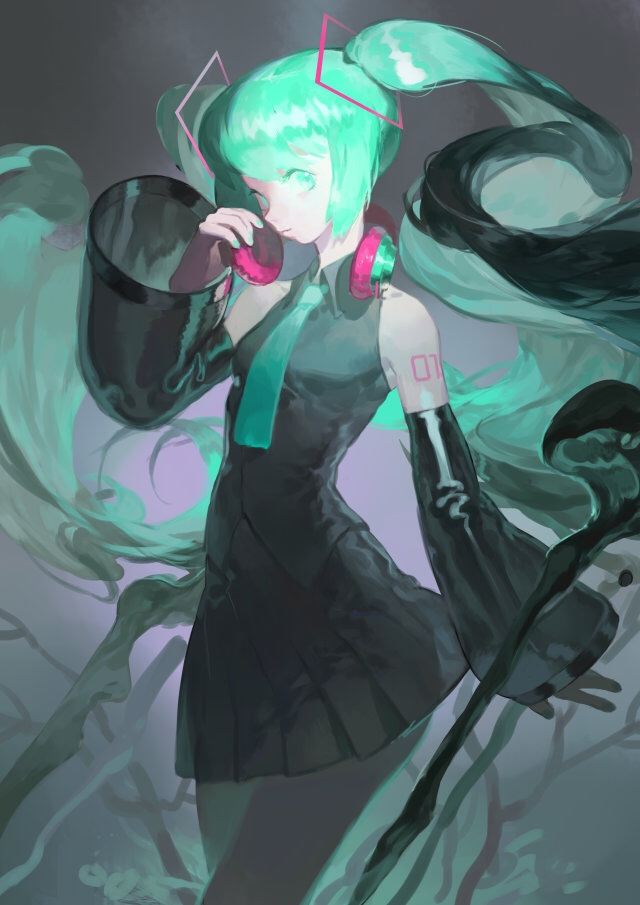 1girl aqua_eyes aqua_hair aqua_nails aqua_neckwear arm_tattoo bangs bare_shoulders black_skirt closed_mouth collared_shirt cowboy_shot detached_sleeves fingernails floating_hair grey_shirt hatsune_miku headphones headphones_around_neck long_hair long_sleeves nail_polish necktie pleated_skirt shirt skirt sleeveless sleeveless_shirt solo tattoo twintails very_long_hair vocaloid yotsuyu