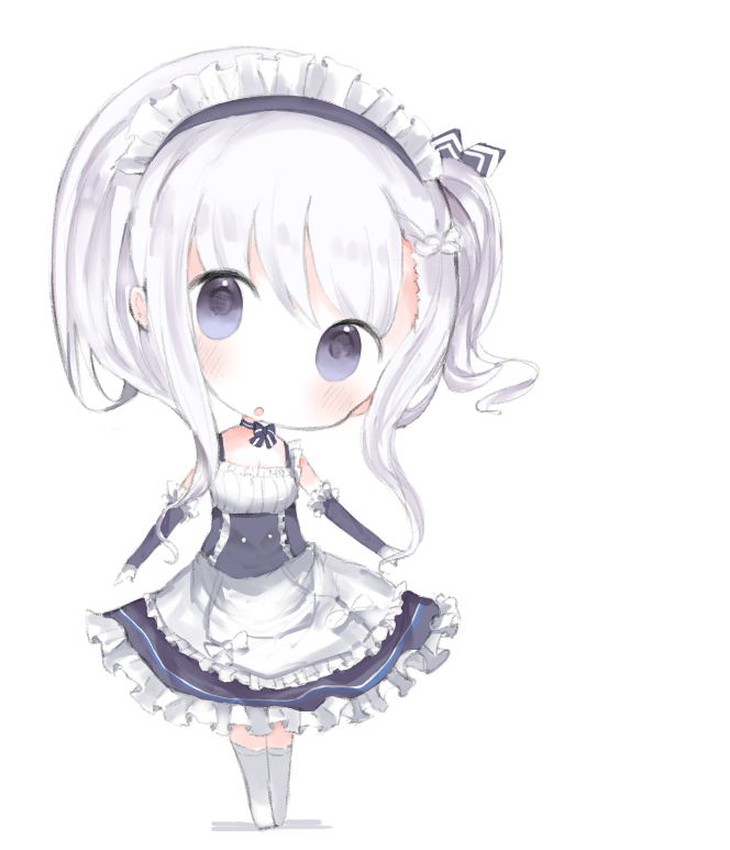 1girl :o apron azur_lane bangs belfast_(azur_lane) blue_dress blush braid breasts chibi cleavage cottontailtokki dress elbow_gloves frilled_apron frills full_body gloves hair_between_eyes head_tilt long_hair looking_at_viewer maid_headdress one_side_up parted_lips sidelocks silver_hair sleeveless sleeveless_dress small_breasts solo standing thigh-highs violet_eyes waist_apron white_apron white_background white_gloves white_legwear