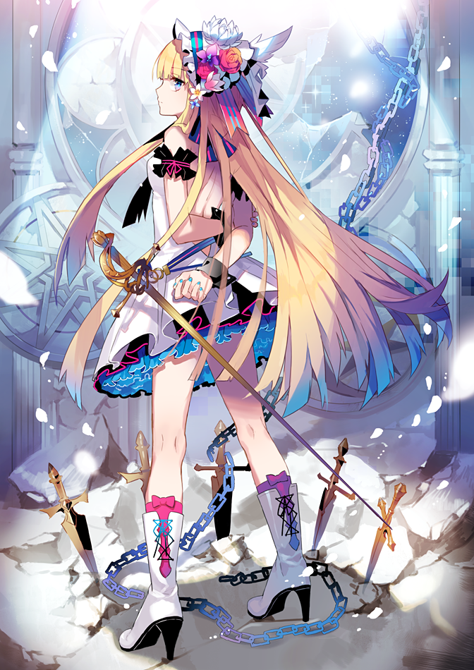 1girl bare_shoulders blonde_hair blue_eyes boots chains dagger dress eihi high_heel_boots high_heels long_hair nail_polish original solo sword weapon