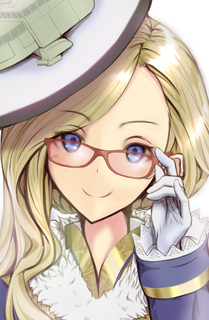 1girl adjusting_eyewear azur_lane bespectacled blonde_hair blue_eyes commentary_request glasses gloves hair_over_shoulder hat head_tilt hood_(azur_lane) long_hair looking_at_viewer orc.ritorisu red-framed_eyewear solo upper_body white_gloves