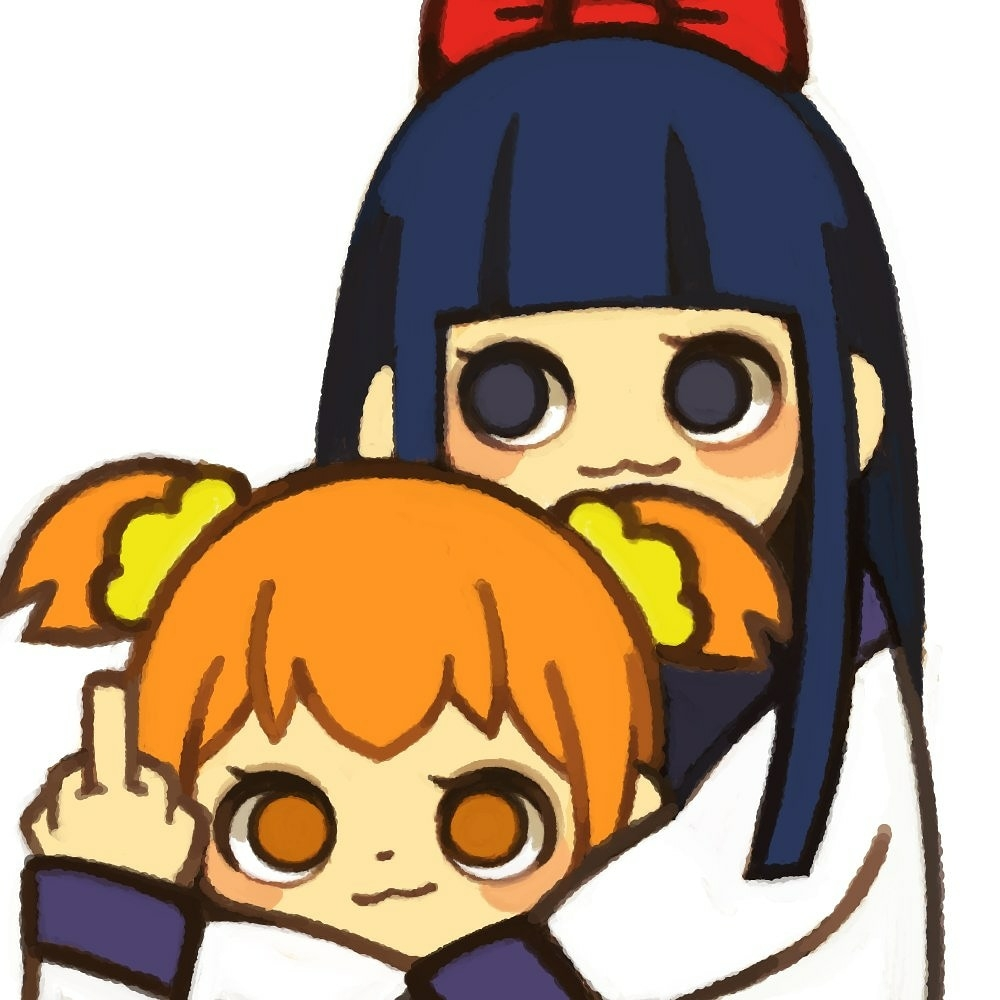 2girls :3 bangs blue_eyes blue_hair blunt_bangs blush closed_mouth eyelashes hug hug_from_behind long_hair long_sleeves looking_at_viewer middle_finger multiple_girls no_eyebrows no_nose no_pupils orange_eyes orange_hair pipimi poptepipic popuko scrunchie shirt short_hair short_twintails simple_background twintails upper_body white_background white_shirt yellow_scrunchie yukino_super
